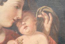 Dipinto antico olio su tela Madonna con Gesù bambino prima tela Sec XVIII
