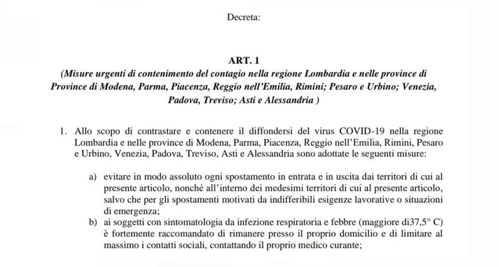 Coronavirus, in Lombardia si potrà entrare e uscire solo per motivi «gravi e indifferibili».