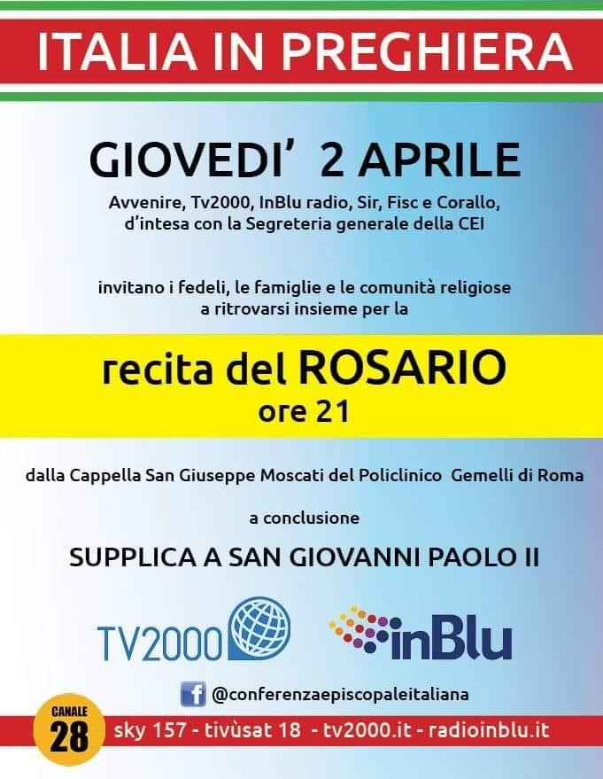 2 aprile alle 21 il Rosario su Tv2000 e in diretta social Cei