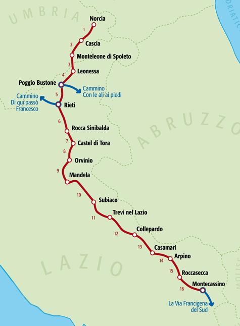 Cammino di San Benedetto, TappeBenedetto: 300 km partendo da Norcia, alle propaggini dei Monti Sibillini; passando per Subiaco,