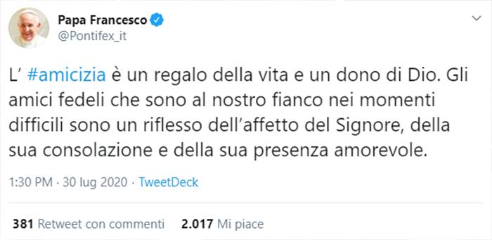 Tweet di Papa Francesco