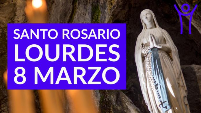 Santo ROSARIO dalla Grotta delle Apparizioni di Lourdes. Lunedì 8 marzo 2021. LIVE TV dalle h. 23.15