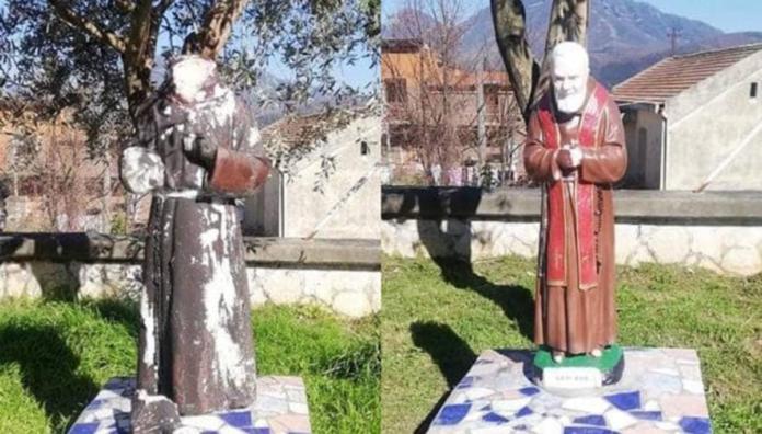 Distrutta statua Padre Pio