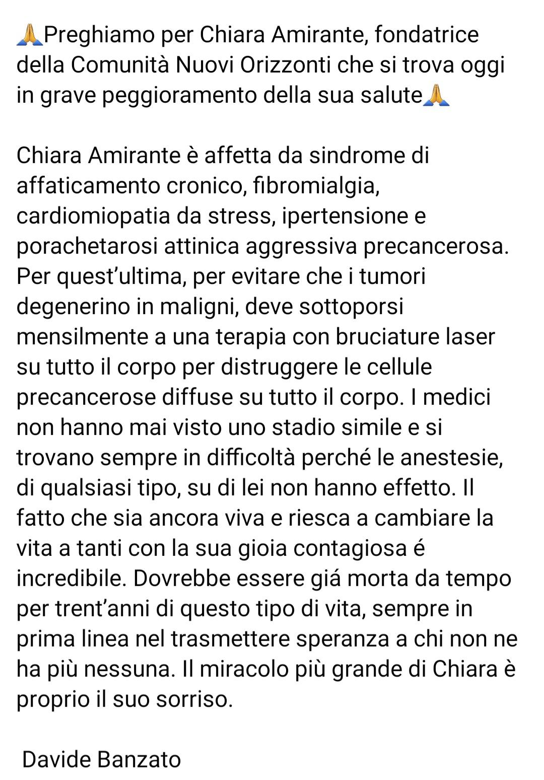 Preghiamo per Chiara Amirante: la donna del sorriso