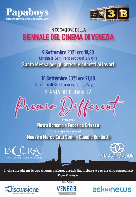 """""""Premio Different"""" a Venezia con i Papaboys: i nomi che illumineranno la serata dei ragazzi del Papa"""